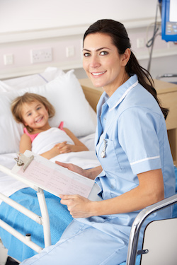 Nurse Attending to child in hospital