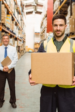 Warehouse employee receiving manual handling training